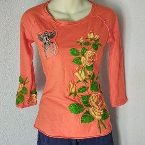 JW Los Angeles Orange XXS Embroidered T Shirt